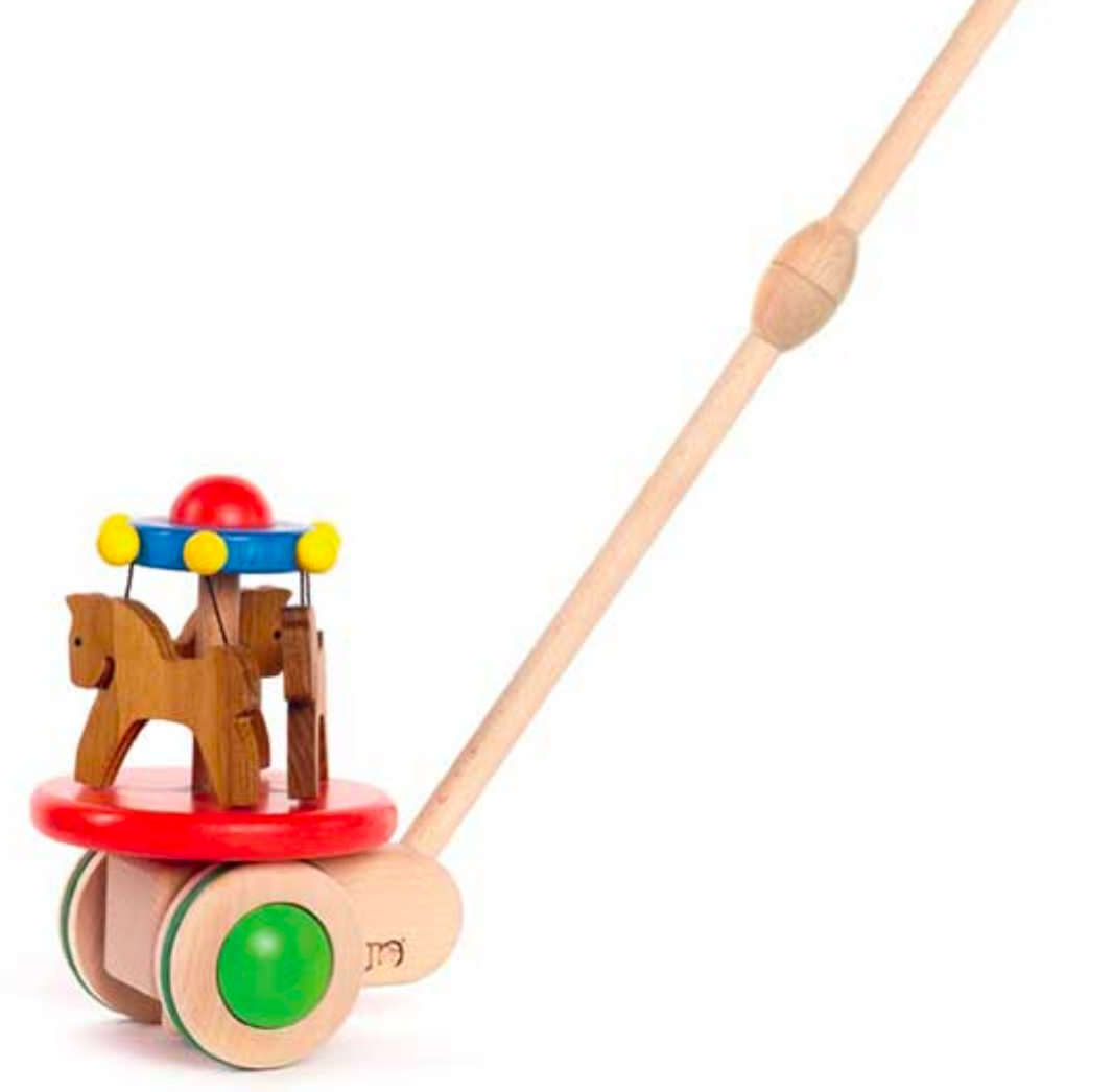 Wooden Crousel Push Toy by Bajo