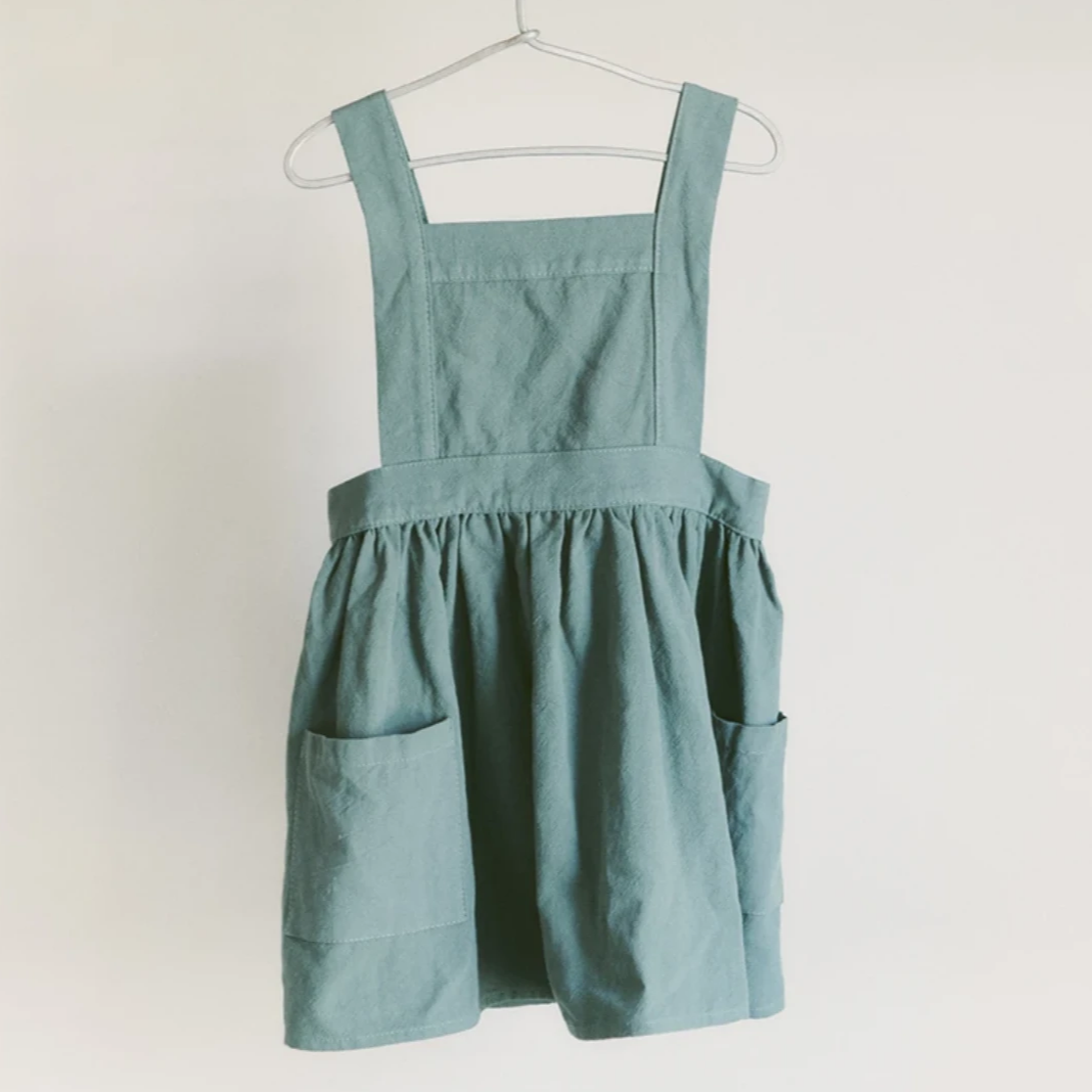 Pinafore Apron in Dusty Teal