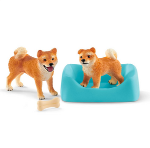 Shiba Inu mother and puppy by Schleich