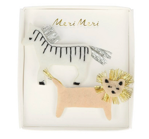 Zebra & Lion Hair Clips by Meri Meri