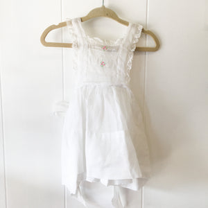 Vintage 1940s White Sheer Organza Pinafore / 12M