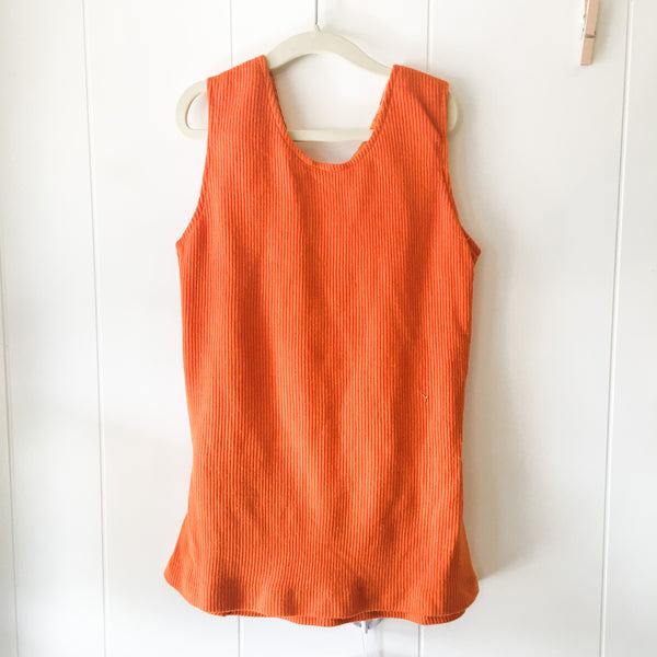 Vintage 1960s Orange Knit Belted Tank Top / size 10x -12x