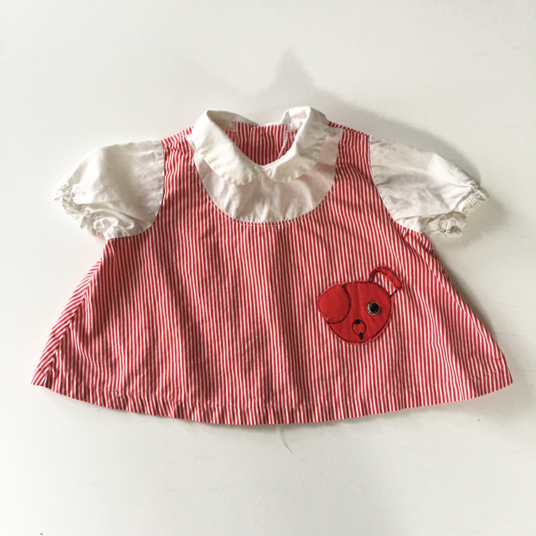 Vintage 1960s Red Puppy Baby Dress / 12M