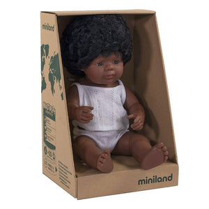 "Miniland 15"" Doll in Box: African American (boy and girl)"