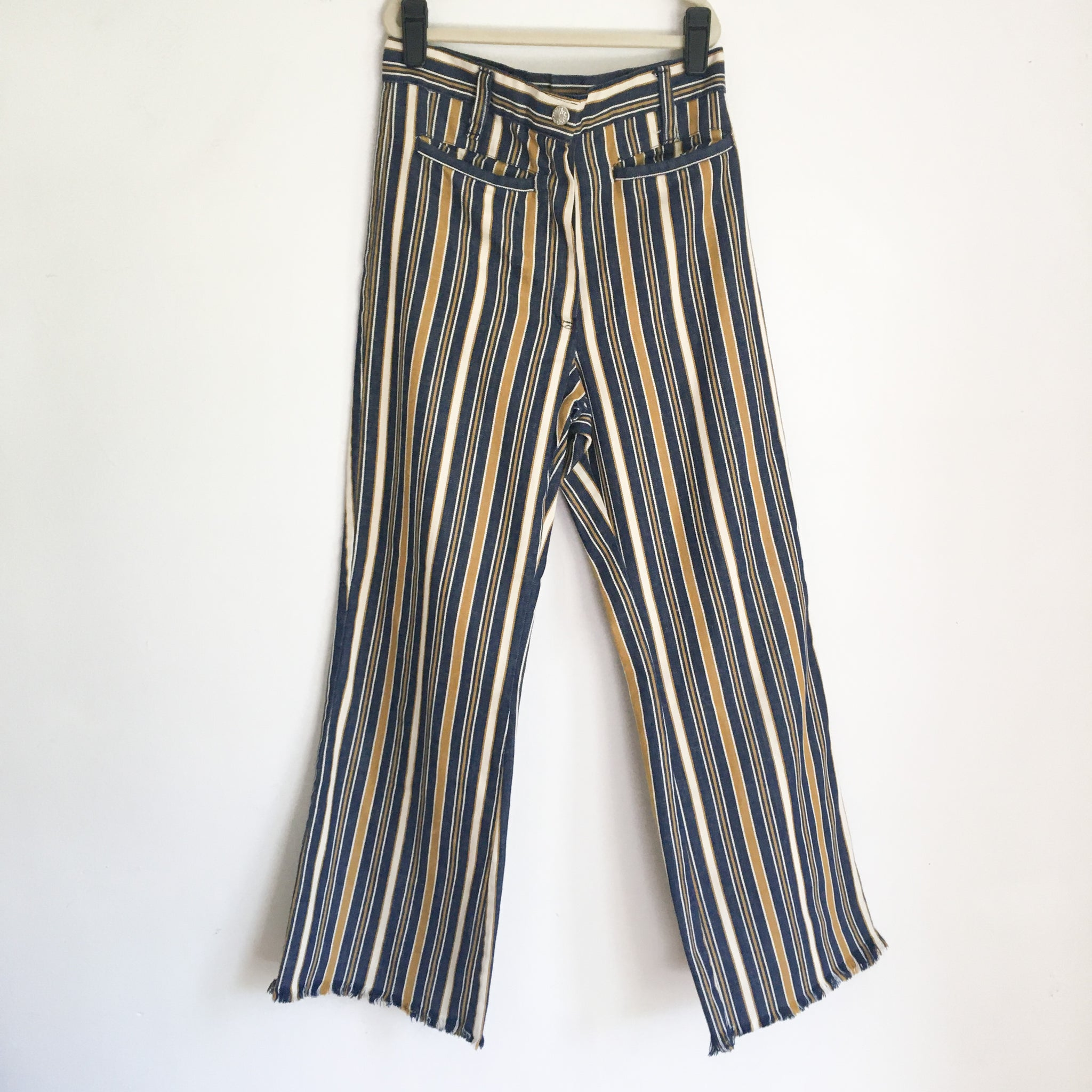 Vintage 1960s Striped Bell Bottoms / 9-10x