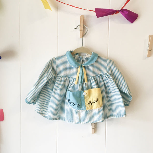 "Vintage 1960s ""Button & Bow"" Baby Dress / size 12-18M"