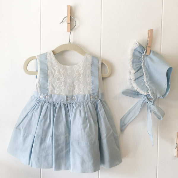 Vintage 1950s Blue Dress & Bonnet Outfit set / 12M