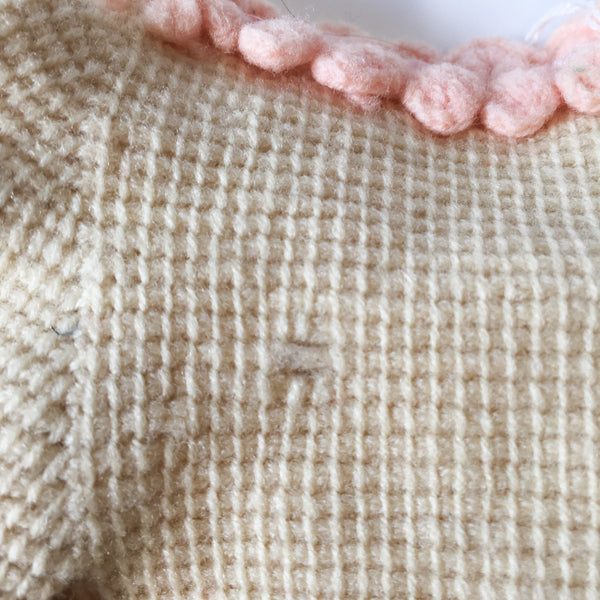 "Vintage 1940s Hand Knit Doll Cardigan (for 15"" doll)"