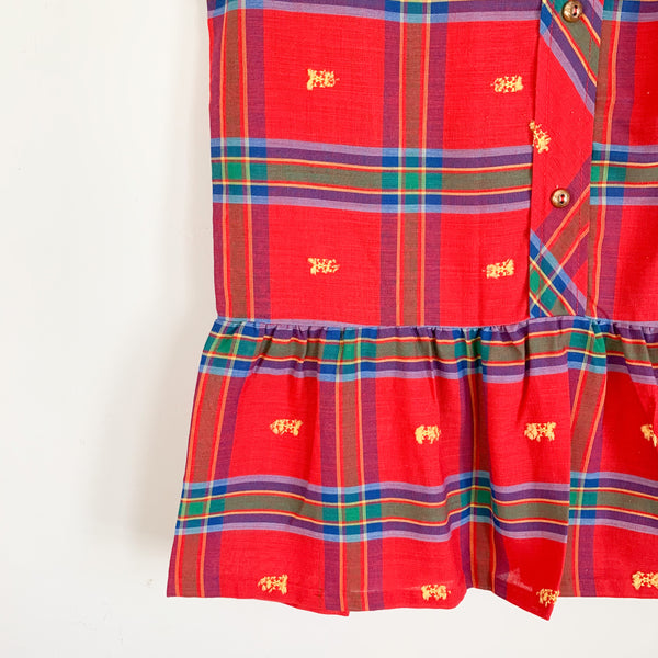 Vintage 1950/60s Plaid Embroidered Drop Waist Dress / size 7/8x