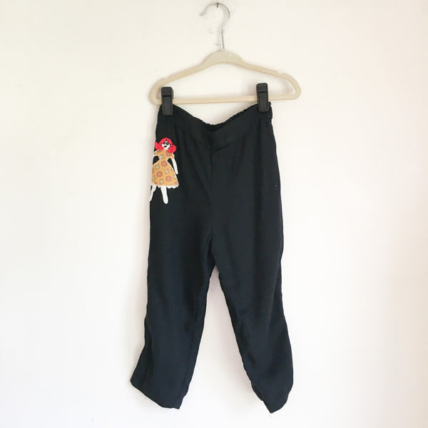 Vintage 1950s Dolly Applique Black Pants / 3T