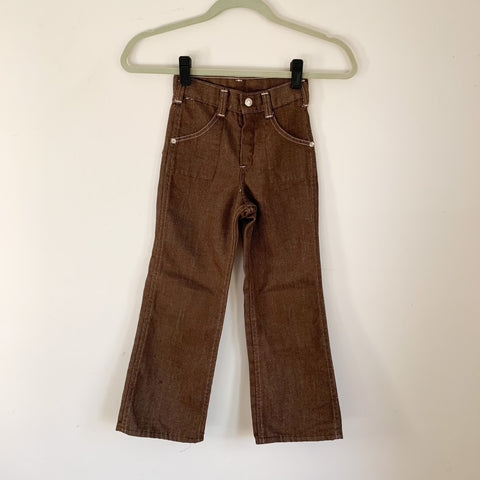 Vintage 1970s Brown Denim Pants / 6x