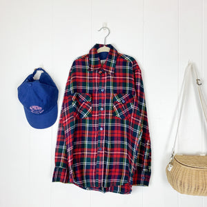 Vintage 1990s Flannel Button Down Shirt / size 10x