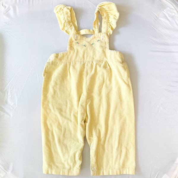 Vintage 1950s Pale Yellow Corduroy Overalls / 2T
