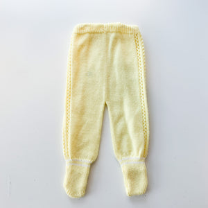 Vintage Yellow Knit Baby Pants / 6-12M