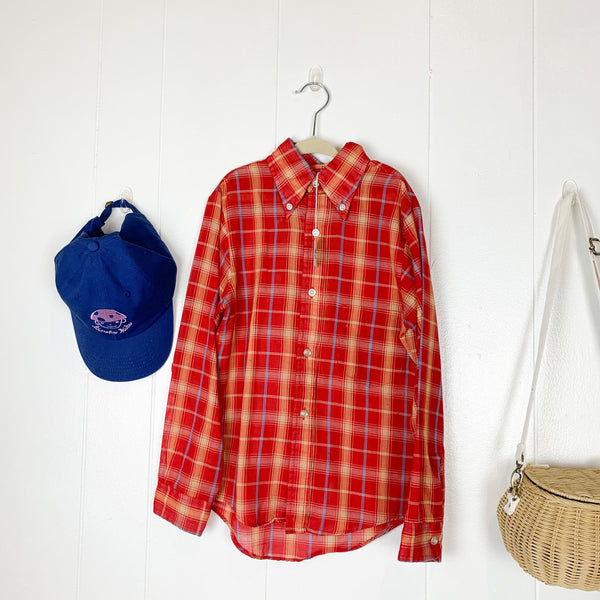 Vintage 1960s Red Plaid Button Down / size 10