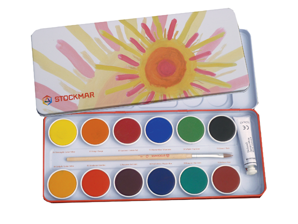 Stockmar Opaque Paints with natual brush and mixing palate in metal box