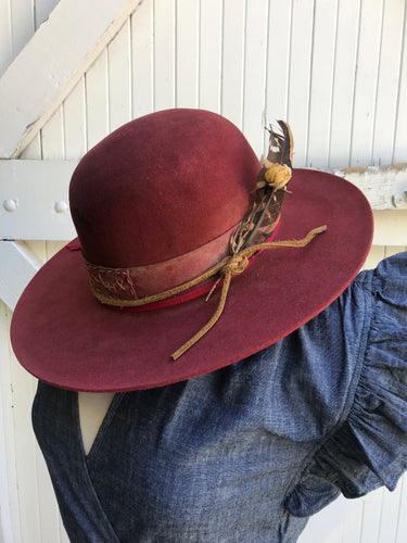 Lone Hawk Burgundy Open Crown Handmade Hat