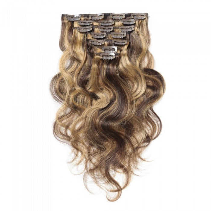 Clip In Colored Body Wave Human Hair Extension 10pcs 120 Gm A