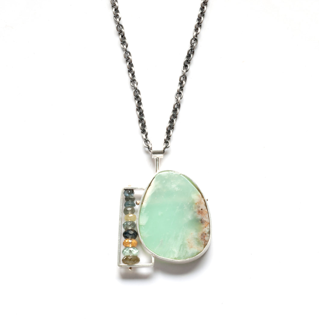 AG10N - Green Oval Necklace