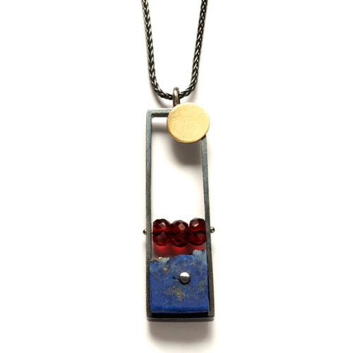BP14N - Vertical Frame necklace with Lapis and Garnet