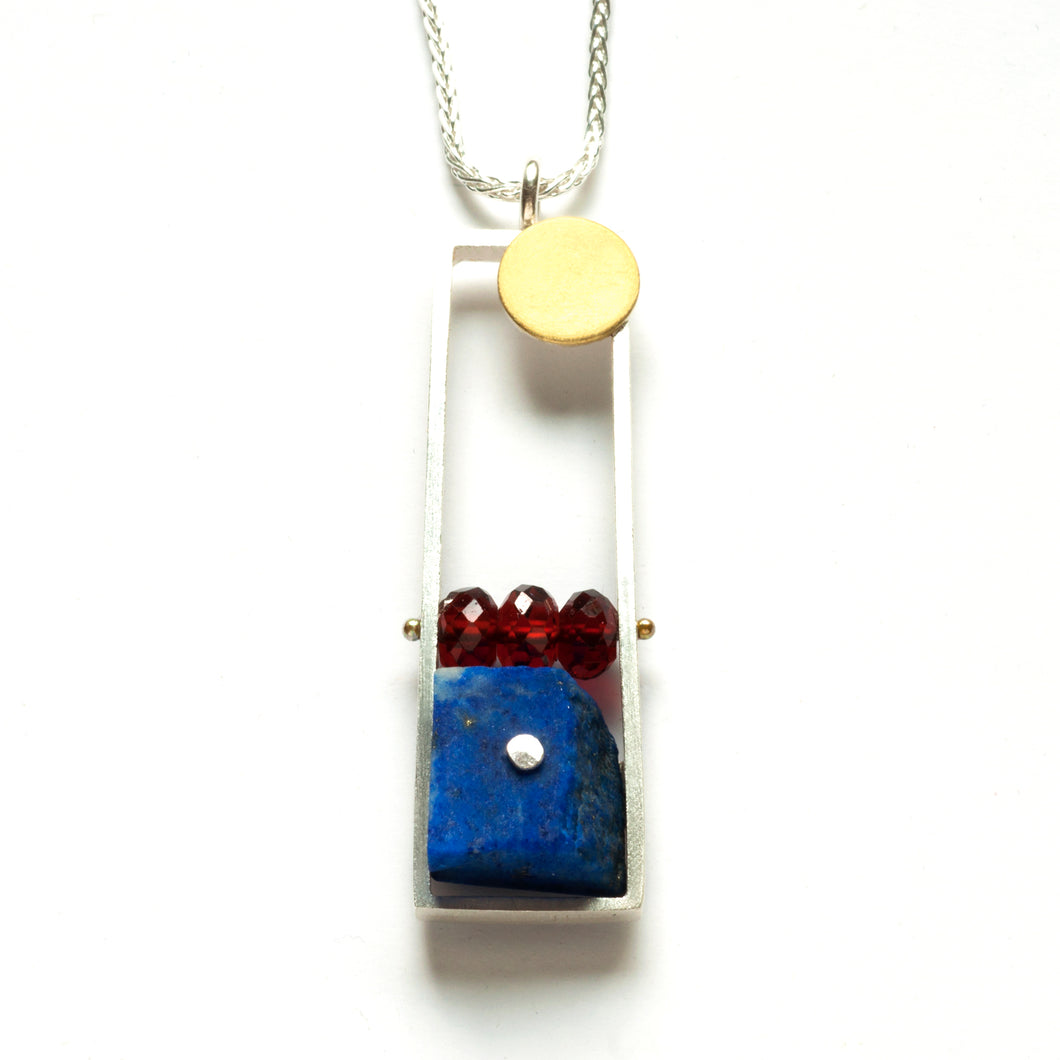 Vertical Frame necklace with Lapis and Garnet