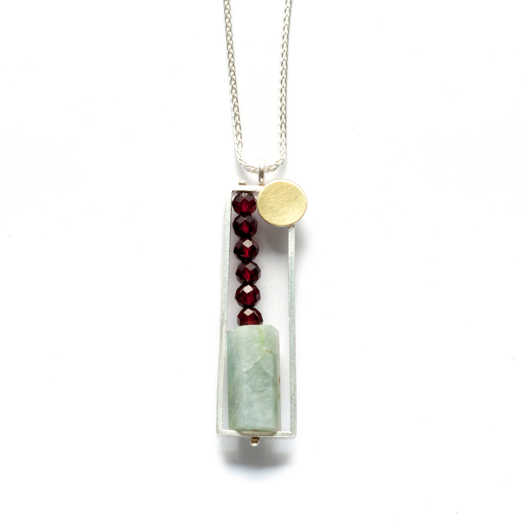 Vertical Frame necklace with Aquamarine and Garnet