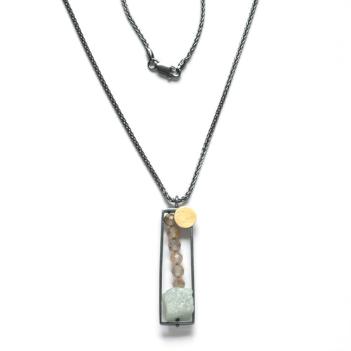 BP16N - Vertical Frame necklace with Rough Aquamarine and Rutilated Quartz
