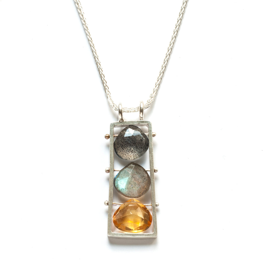 BR13VN - Medium Vertical Frame necklace with Three Briolettes