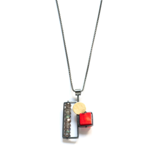 BRC01N - Vertical Frame necklace with