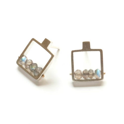 Square Frame Earrings, post