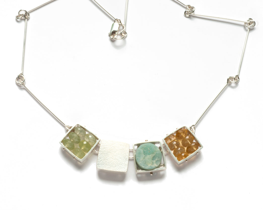 CXG04N - Large Square Cage Necklace