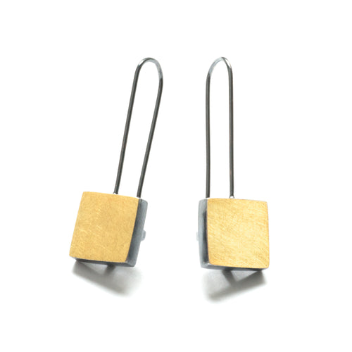 Bimetal Square Earrings