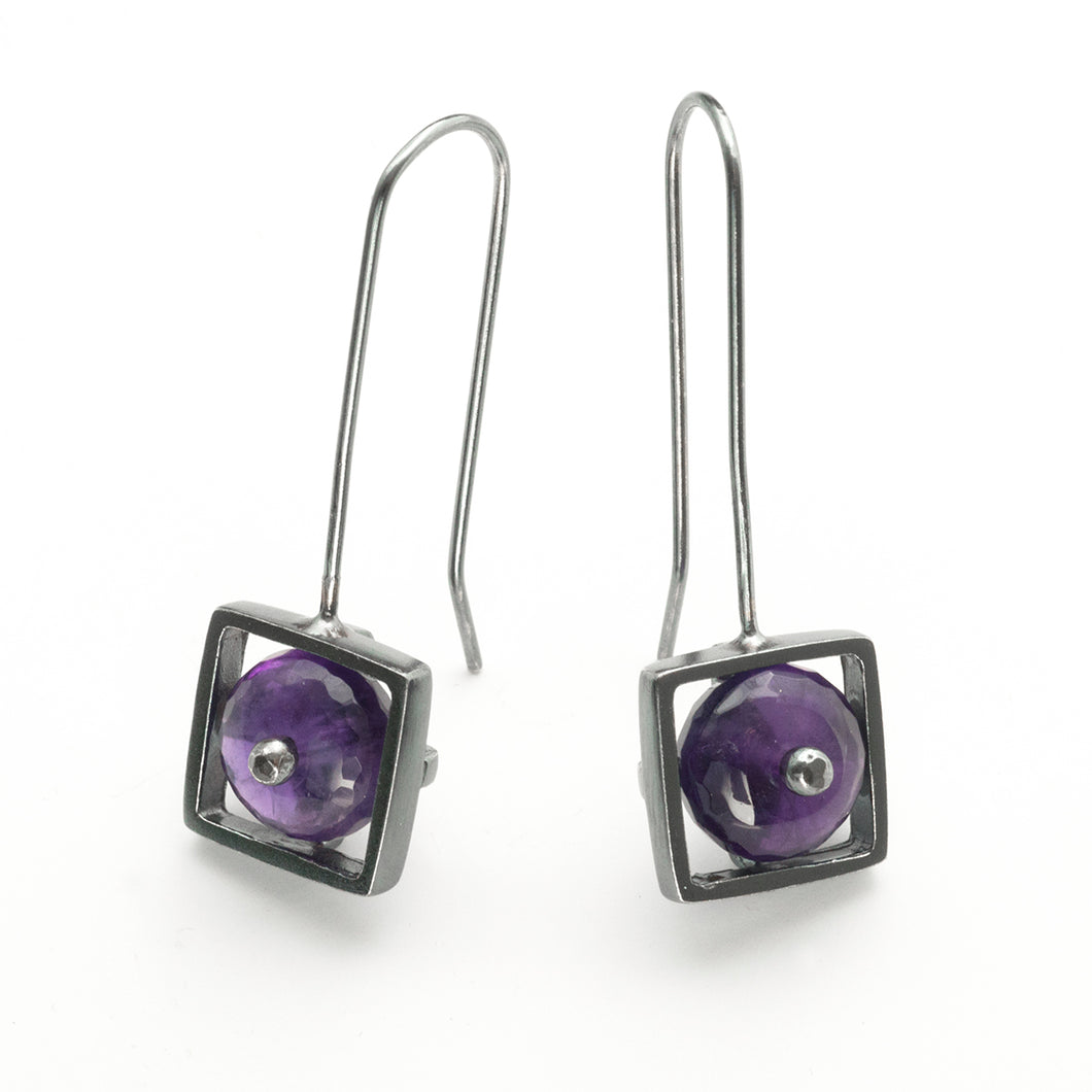 Square Cage Earrings, French wire
