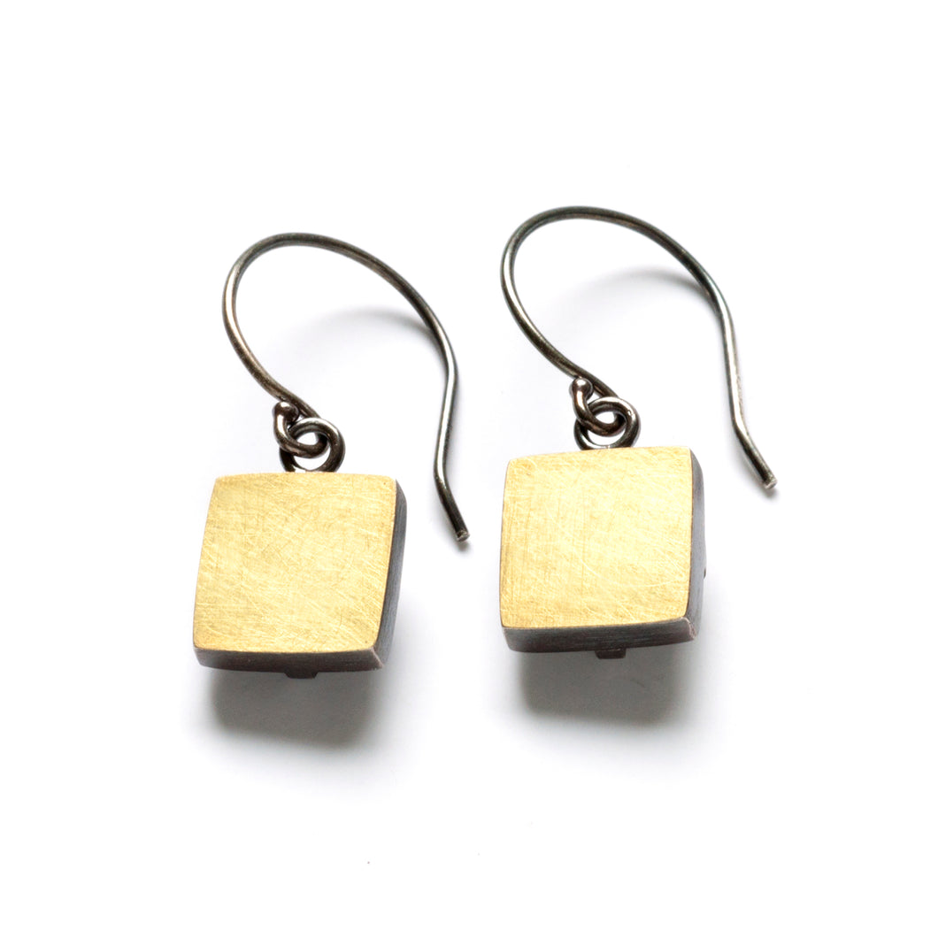 Bimetal Square Earrings, dangle