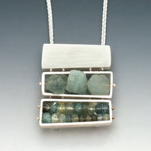 Triple Rectangular Cage Necklace, stacked