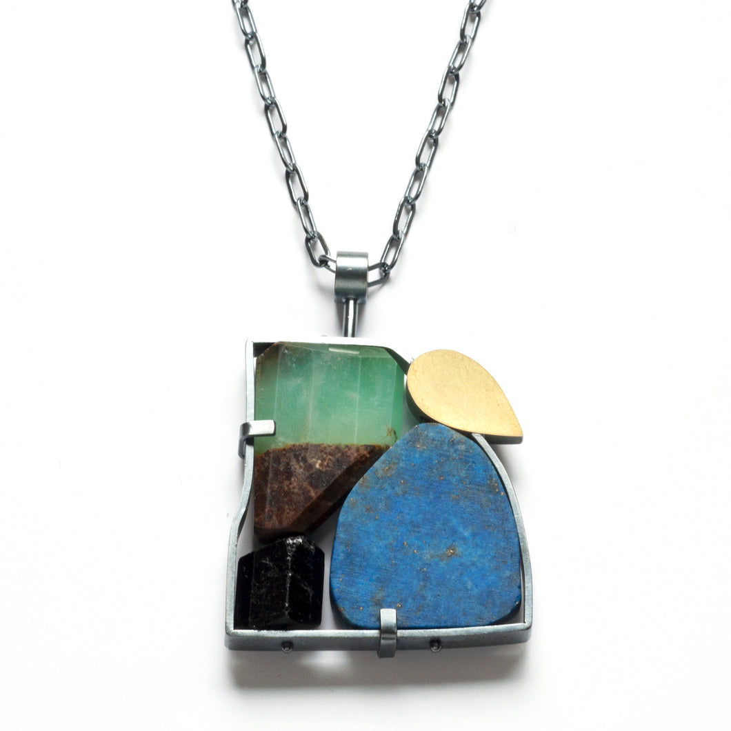 Framed rocks Necklace in Blue-Green GSQ16N