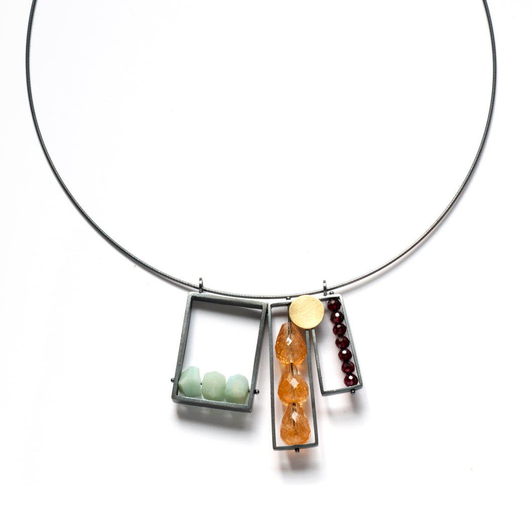 LRB13N - Triple Rectangle Frame Necklace, cable wire
