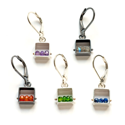 Mini Square Earrings, Leverbacks