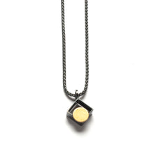 MJ11N - Diagonal Square Necklace with Gold Dot