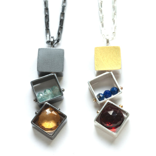 3 SMALL Squares Necklace