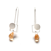 MJ22LE - Small Square Earrings with Dots and Teardrop stones