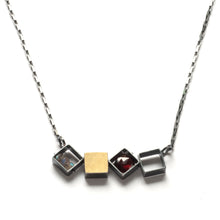 MJ41N - 4 SMALL Squares Necklace, Horizontal
