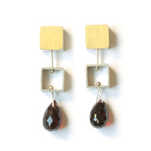 Mini Square Earrings with Teardrop Briolettes, post