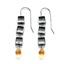 MP13E - Tumbling Mini Square Earrings with Teardrop Briolettes