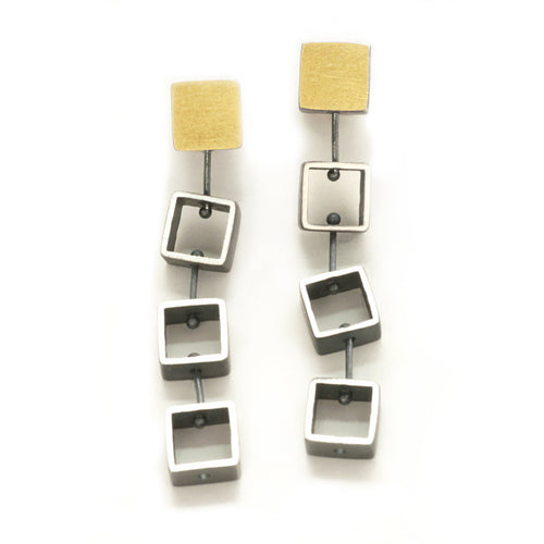 Tumbling Mini Square Earrings