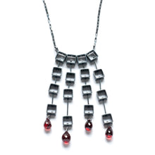 MP16N - Tumbling Squares Necklace with teardrops
