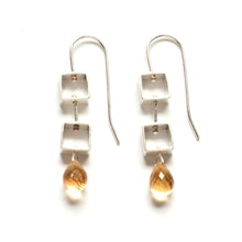 Tumbling Mini Square Earrings with Teardrop Briolettes MP20E