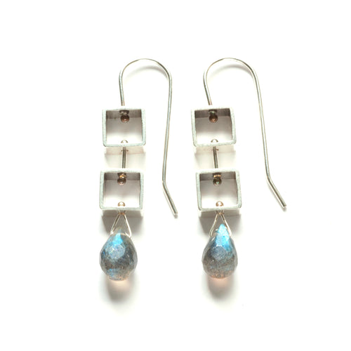 Tumbling Mini Square Earrings with Teardrop Briolettes