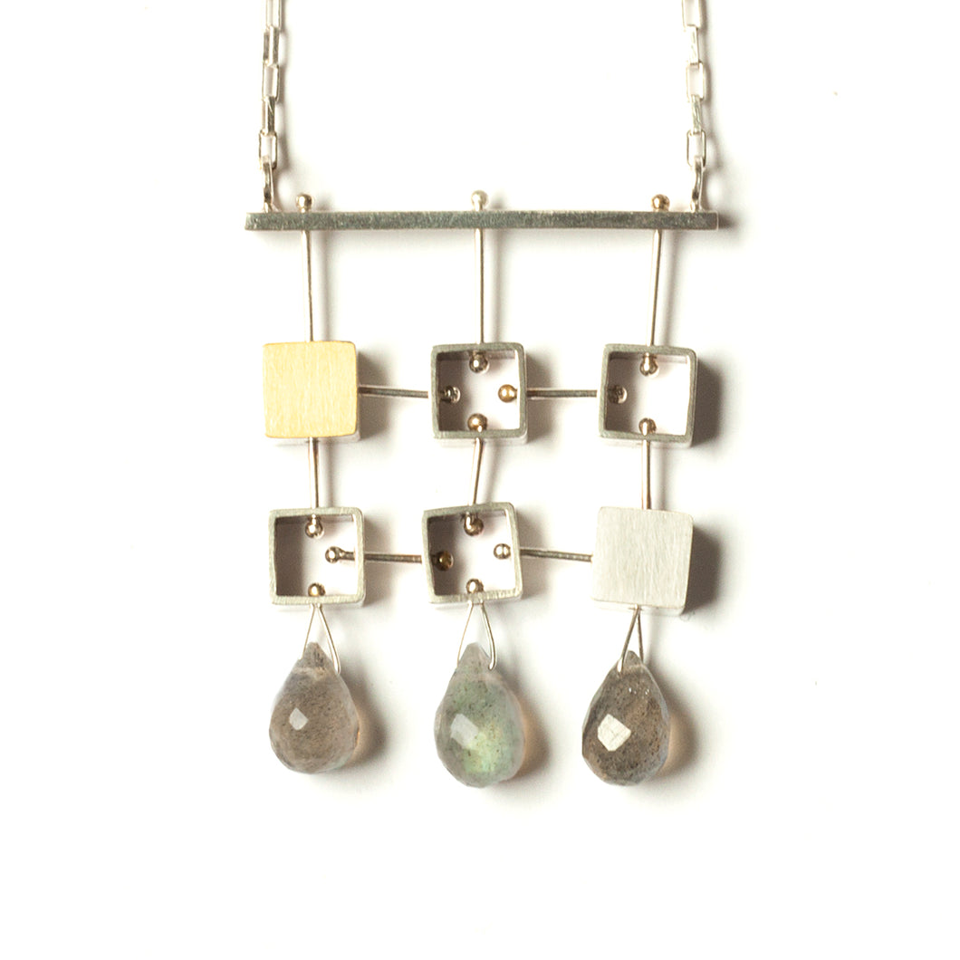 Six Squares Necklace with teardrops MP63N