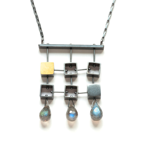 Six Squares Necklace with teardrops